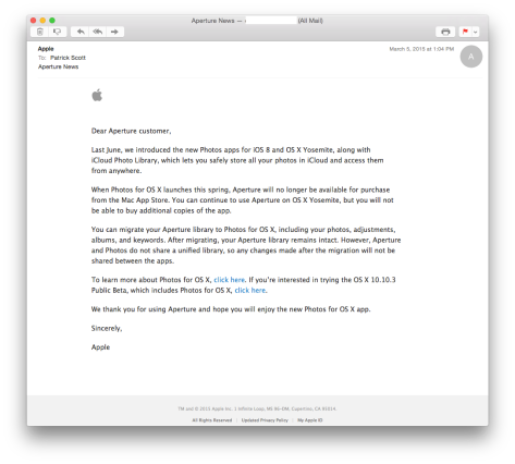 Apple email re: Aperture